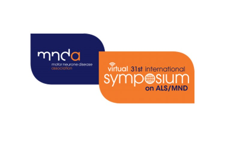 MNDA 31st international virtual symposium on ALS/MND logo navy and orange