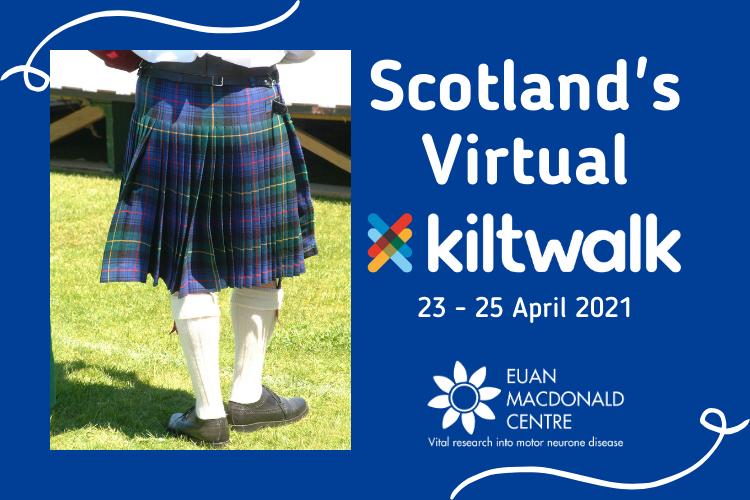 Man in Kilt with wording - Scotland's virtual kiltwalk