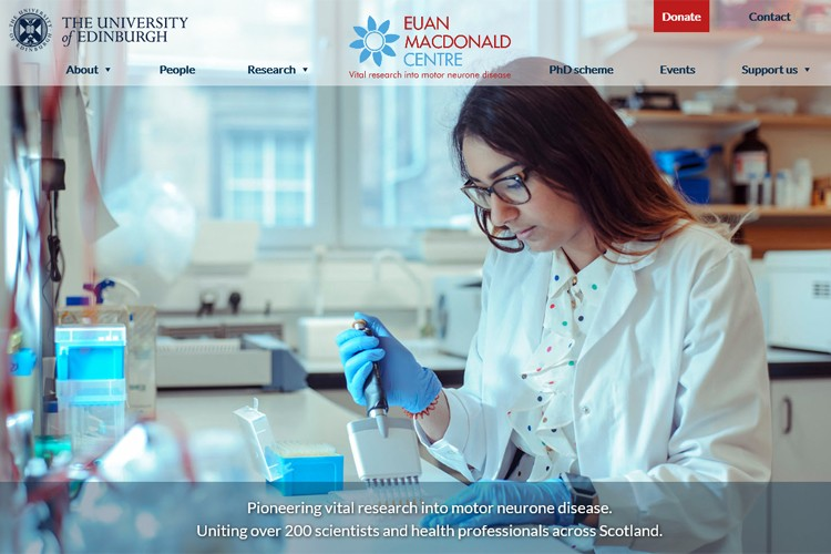 screenshot of the home page of the Euan MacDonald Centre website